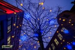 Eissterne in den Bäumen zu Weihnachten in Berlin.