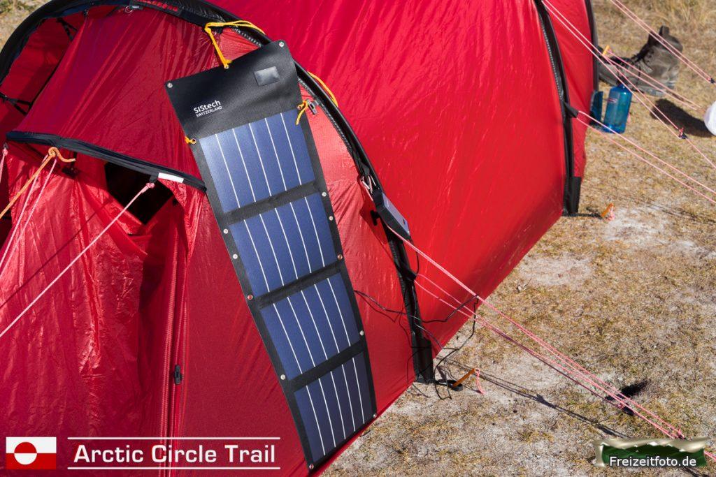 Zelt mit Stromversorgung.