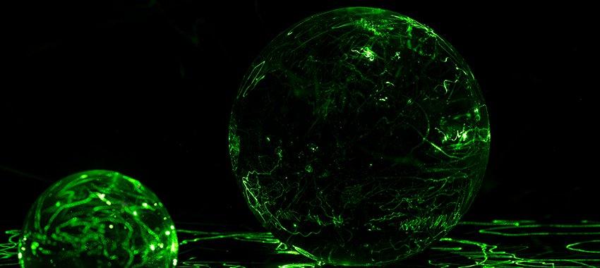 Glas und Laserpointer