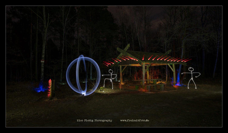 Schutzhütte und Lightpainting.